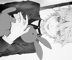 anime, b&w, and black and white image