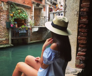 canal, girl, and travel image