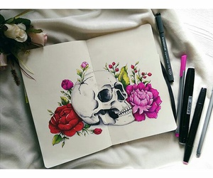 art, skull, and flowers image