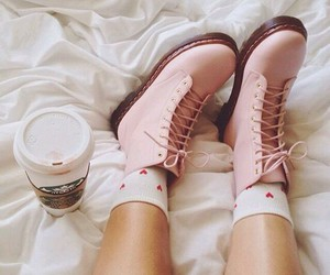 pink, shoes, and starbucks image