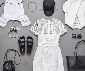bag, neklace, and dress image