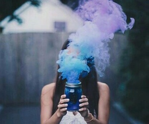 girl, blue, and smoke image