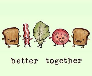 bacon, bread, and salad image