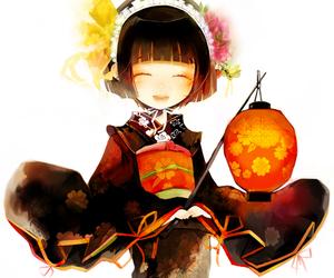 anime, kimono, and lantern image