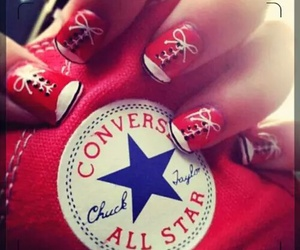 converse, nails, and red image