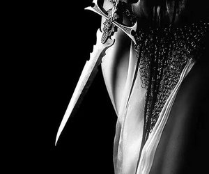 fantasy, warrior, and black and white image