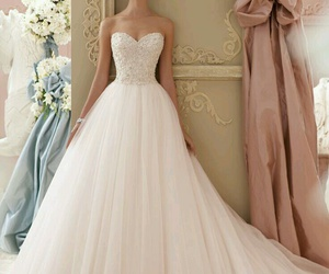 dress, wedding, and white image