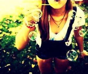 alone, bubbles, and child image