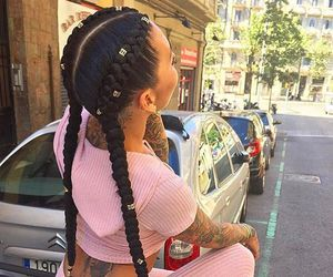 hair, braids, and pink image