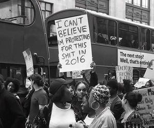 protest, black and white, and quotes image