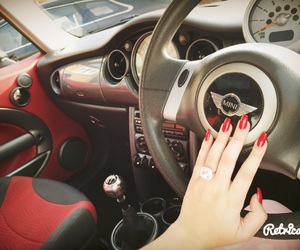 car, mini cooper, and red nails image