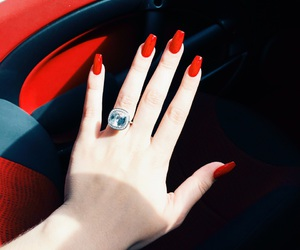 mini cooper, red coffin nails, and swarovski engagement ring image
