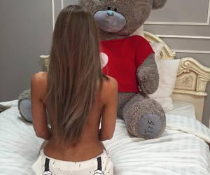 girl, teddy bear, and cute image