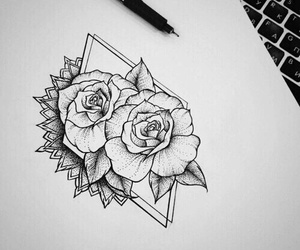 art, drawing, and rose image