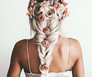fashion, hairstyle, and flowers image