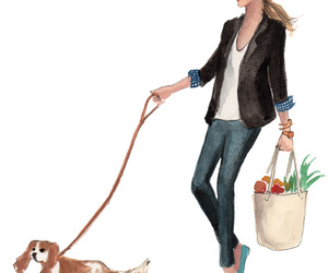 dog, girl, and shopping image