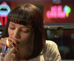 pulp fiction, cigarette, and mia wallace image