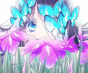 anime, butterfly, and flower image