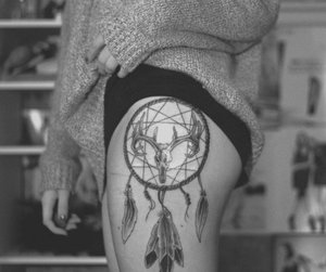 tattoo, black and white, and dream catcher image