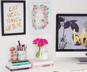 desk, flowers, and love image