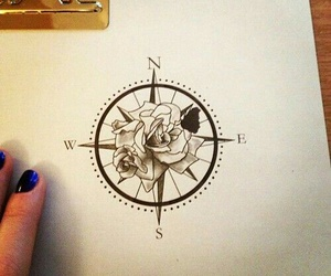 compass, drawing, and leaves image