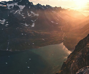 mountains, nature, and sun image