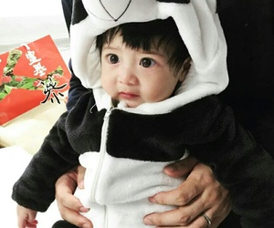 baby, costume, and panda image