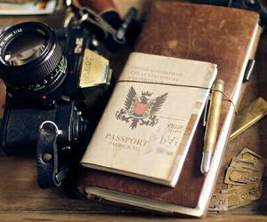 camera, passport, and travel image