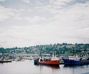 boat, sea, and sky image