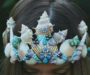 mermaid, crown, and blue image
