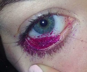 glitter, eye, and pink image