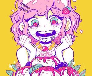 girl, art, and ice cream image