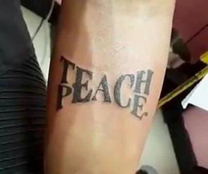 peace, tattoo, and teach image