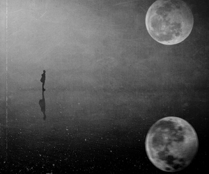 moon, black and white, and alone image