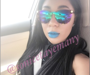 straight hair, blue lipstick, and mirrored glasses image