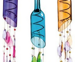 recycled bottles, recycled wind chimes, and recycled wine bottles image