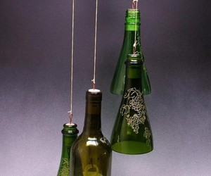 recycled glass bottles, recycled bottles, and recycled wine bottles image