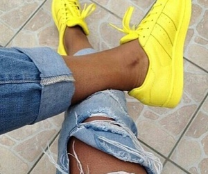 adidas, yellow, and shoes image