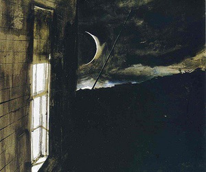 night, moon, and window image