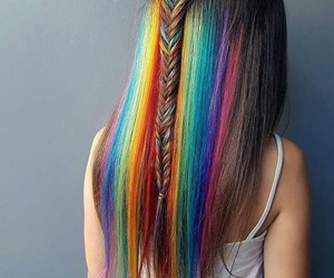 hair and rainbow image