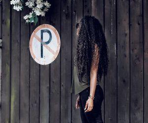 black hair, curly hair, and long hair image