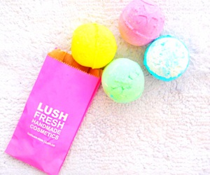 lush, pink, and bath bombs image