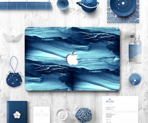 art, blue, and macbook image