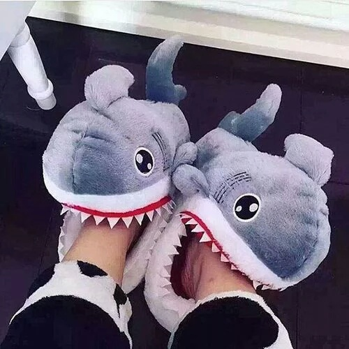 shark, funny, and slippers image