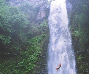 waterfall, girl, and adventure image