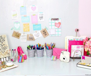 desk, pink, and school image