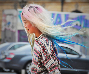 blonde, colorful hair, and girl image