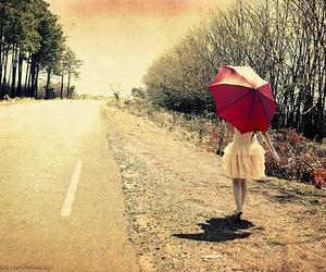 girl, umbrella, and road image