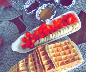 breakfast, waffles, and yummy image