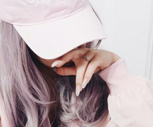 pink, hair, and cap image